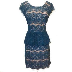 Maeve Anthro Elsa Teal Lace Peplum Sheath Dress L